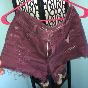 American Eagle maroon Mid/High rise shorts